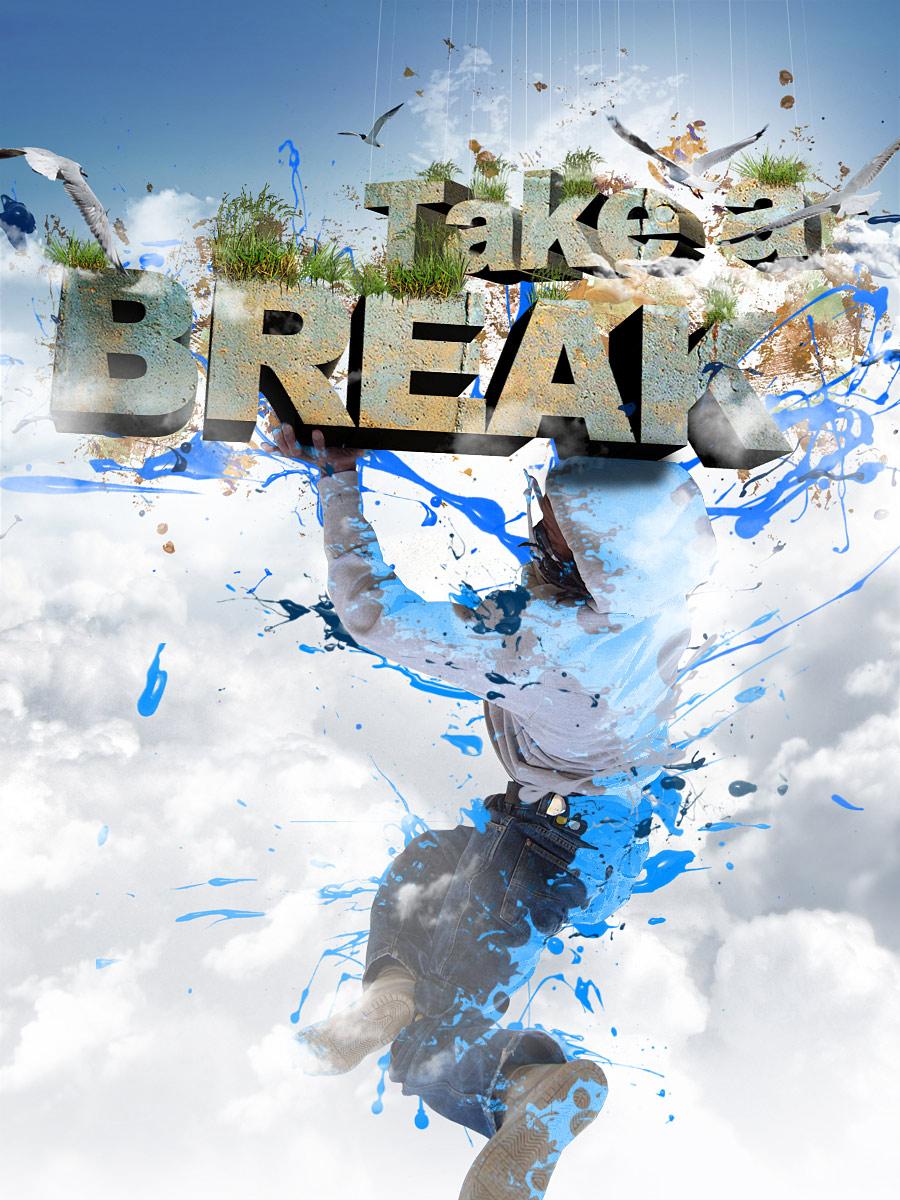 """""""Take a Break"""" 3D Text Composition"""