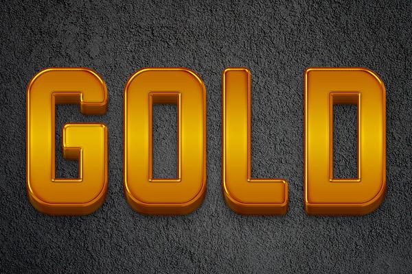 3D Gold Bars Text Effect